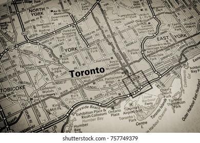 Vinnitsa, Ukraine - June 25 , 2017: Toronto map closeup