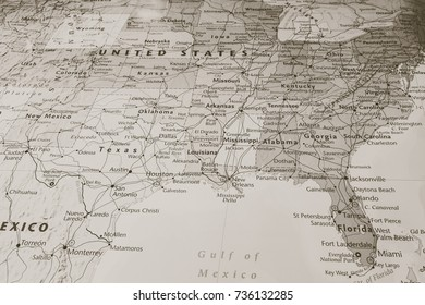 Vinnitsa, Ukraine - June 25 , 2017:South USA States on the map