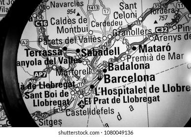 Vinnitsa, Ukraine - March 10 , 2018: map of barselona  magnifier