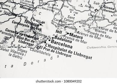 Vinnitsa, Ukraine - March 10 , 2018: map of barselona  road