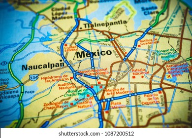 Vinnitsa, Ukraine - March 10 , 2018: Mexico City on the map