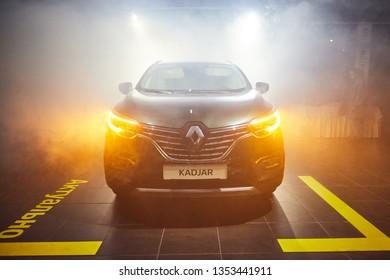 Vinnitsa, Ukraine - March 21, 2018. Renault Kadjar - new model car presentation in showroom - front view