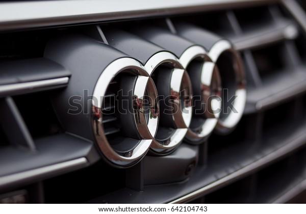 Vinnitsa, Ukraine - May 14, 2017. Audi Q2 concept car - logo