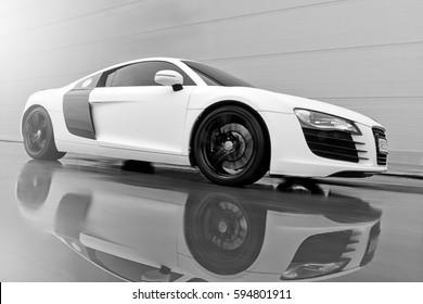 Vinnitsa, Ukraine - November 11, 2012.Audi R8 concept car - on road in motion
