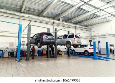 Vinnitsa, Ukraine - October 02, 2015. Service center in process of car maintenance