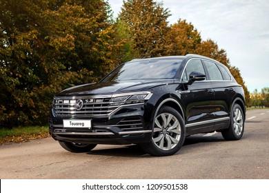 Vinnitsa, Ukraine - October 03, 2018. New Volkswagen Touareg concept car - on road in motion