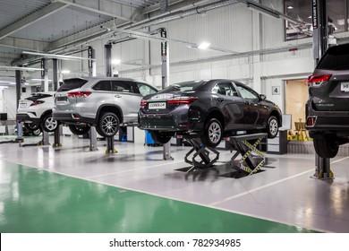Vinnitsa, Ukraine - October 21, 2017. Toyota service center in process of car maintenance
