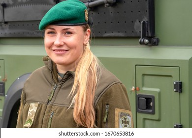 Vinnitsa.Ukraine 03/25/2019. Woman in uniform. Soldier girl wearing military protective clothing. girl in a military beret. Army woman concept