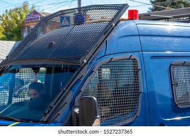 Vinnitsa.Ukraine 07.09.2019. Police car. Police patrol in Ukraine. Car for the transport of detainees and prisoners. Police van