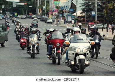 Vinnitsa,Ukraine - 26 of May,2012. Large bikers group on the street