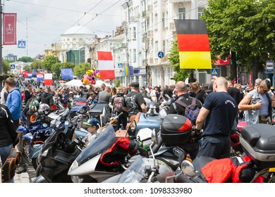 Vinniysa/Ukraine - 05/19/2018: people are walking near motorcycles, during the rally of bikers, at the celebration of Europe Day