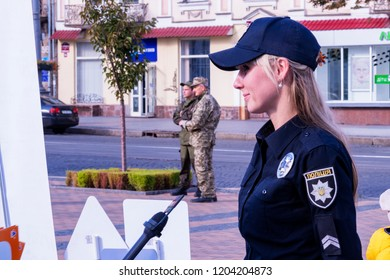 Vinnytsia, Ukraine. 05.10.2018.The police officer gives an interview to TV channel. Concept press conference of police. Openness and transparency of work of police officers.