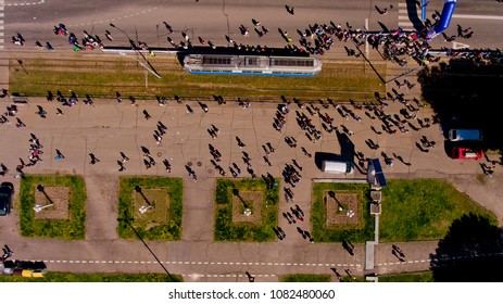 "Vinnytsia Ukraine - April 28, 2018: Annual City Run ""Vinnytsia Runs"". Athletes and amateurs gathered for the annual city run. Top view."