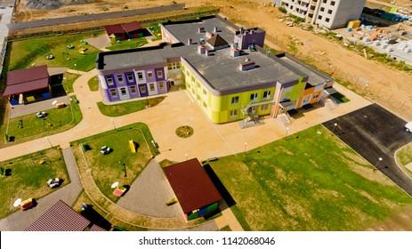 Vinnytsia, Ukraine - August 25, 2017: Aerial view of the building of a renovated kindergarten.