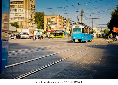 Vinnytsia, Ukraine - August 25, 2017: View of a blue tram in the city.