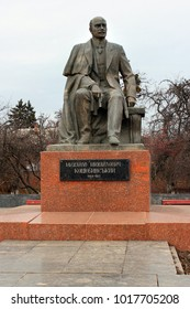 Vinnytsia, Ukraine - December 17, 2011: Monument to Mykhailo Kotsiubynsky, a Ukrainian author who was born in Vinnytsia and described typical Ukrainian life at the start of the 20th century.