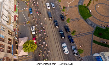 Vinnytsia, Ukraine - Jully 29, 2018: Annual all-Ukrainian cycle. A group of bicycle climbers gathered at the start. Top view.