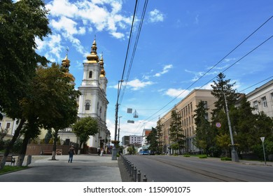 Vinnytsia, Ukraine - July 08, 2018 : View of the main city street with Holy Transfiguration Church in Vinnytsia city.