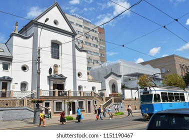Vinnytsia, Ukraine - July 08, 2018 : View of the Soborna street and Church of the Virgin Mary in Vinnytsia city.