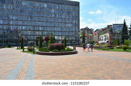 Vinnytsia, Ukraine - July 08, 2018 : View of the Independence square. Vinnytsia city executive committee building.