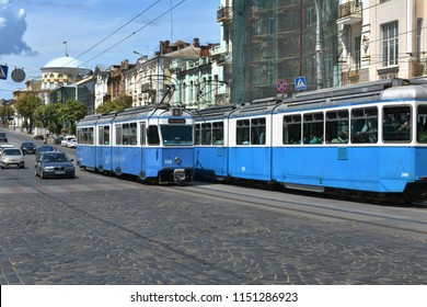 Vinnytsia, Ukraine - July 08, 2018 : Tram traffic on the city street in Vinnytsia.