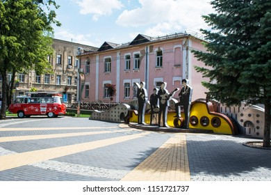 "Vinnytsia, Ukraine - July 08, 2018 : Square, which received the name - ""The Beatles"" or ""Liverpool"" in Vinnytsia city. It is decorated with a composition dedicated to the legendary ""Liverpool Four"""