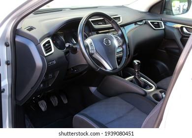 Vinnytsia, Ukraine; July 10, 2020. Nissan Qashqai 2016 drivers seat. Nissan Qashqai steering wheel. Car interior. Editorial photo.