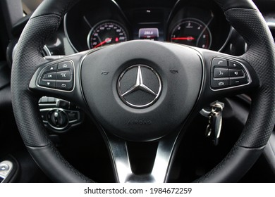 Vinnytsia, Ukraine; June 02, 2021. Mercedes-Benz V-Class steering wheel. Mercedes-Benz V-Class dashboard. Mercedes-Benz V-Class interior. Editorial photo.