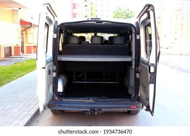 Vinnytsia, Ukraine; June 26, 2020. Opel Vivaro open trunk doors. Opel Vivaro trunk. Editorial photo.