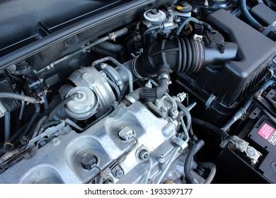 Vinnytsia, Ukraine; June 29, 2020. Toyota RAV4 engine turbine. Editorial photo.