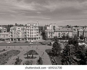 "VINNYTSIA, UKRAINE - MAY 18, 2017: View of Soborna square and former hotel ""Savoy"" (1912), now it is the hotel ""Ukraine"""