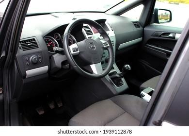 Vinnytsia, Ukraine; November 20, 2020. Opel Zafira drivers seat. Opel Zafira steering wheel. Car interior. Editorial photo.