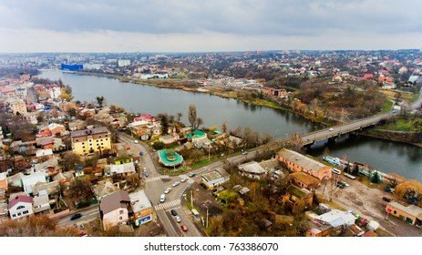 Vinnytsia, Ukraine - November 26, 2017: Aerial view of the river Southern Bug in the city of Vinnitsa.