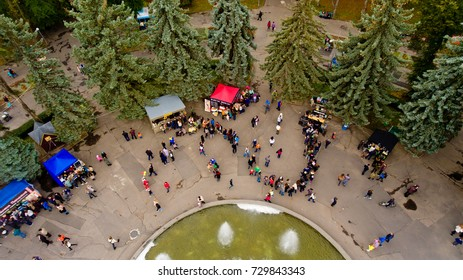 Vinnytsia Ukraine - October 07, 2017: Vinnytsia Food Weekend in central park. Aerial view.
