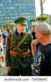 Vinnytsia Ukraine - September 09, 2017: Birthday of the city of Vinnytsia. A man in uniform posing on camera.