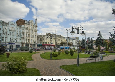 VINNYTSIA, UKRAINE - SEPTEMBER 18, 2017: View of Soborna street
