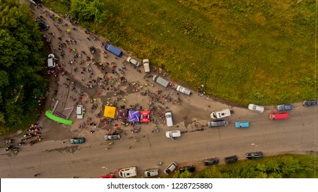 Vinnytsia Ukraine - September 23, 2018: Annual all-Ukrainian cycle. A group of bicycle climbers gathered at the start. Top view.