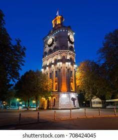 Vinnytsia water tower in the nigh. Ukraine