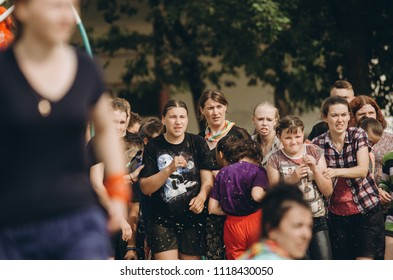 Vinnytsya, Ukraine, June 10, 2018 happy children in the camp playing esthetes with water
