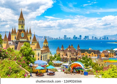 Vinpearl Land, Nha Trang, Vietnam - August 28, 2018: Vinpearl Land lying on the Hòn Tre Island, is a Resort Island with a Water Park, Amusement Park, and 5-star Hotels in Nha Trang