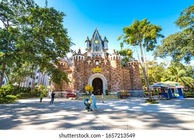 Vinpearl Land, Phu Quoc, Vietnam - Jan 25th 2019: Castle in Vinpearl Land Amusement Park Phu Quoc Island, the Largest and Most Modern Recreational Theme Park in Southern Vietnam, Southeast Asia.