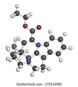 Vinpocetine molecule. Semisynthetic vinca alkaloid derivative, used as drug and as dietary supplement. Atoms are represented as spheres with conventional color coding: hydrogen (white), etc