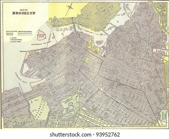Vintage 1891 map of Brooklyn; out of copyright From old Atlas of the World