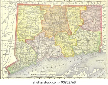 Vintage 1891 map of Connecticut; out of copyright From old Atlas of the World