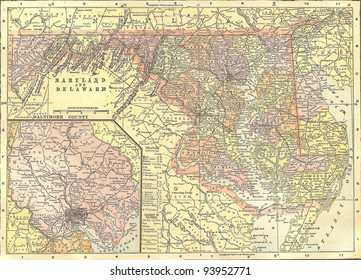 Vintage 1891 map of Delaware and Maryland; out of copyright From old Atlas of the World
