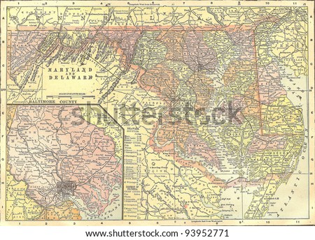 Vintage 1891 Map Delaware Maryland Out Stock Photo (Edit Now ...