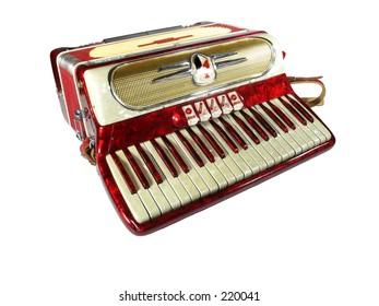vintage 1950's era accordion isolated on white background