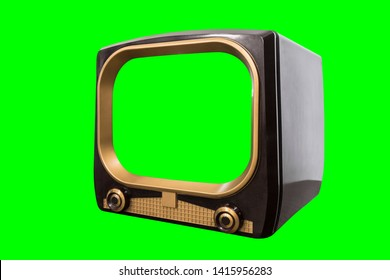 Vintage 1950s television isolated with chroma green screen and background.