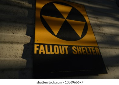 Vintage 1960s Cold War radioactive fallout shelter sign.