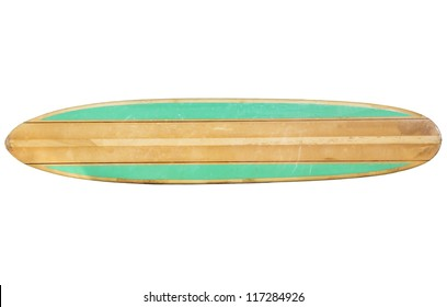 Vintage 60's Surfboard isolated on white